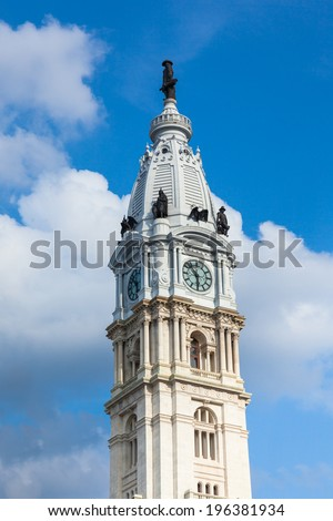 Philadelphia city Hall tower - Pennsylvania - USA - stock photo