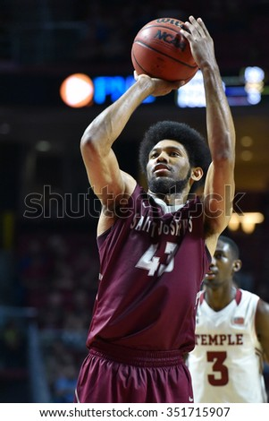 PHILADELPHIA - DECEMBER 13: Saint Joseph's Hawks forward DeAndre Bembry (43) shoots a free throw during the Big 5 basketball game December 13, 2015 in Philadelphia.