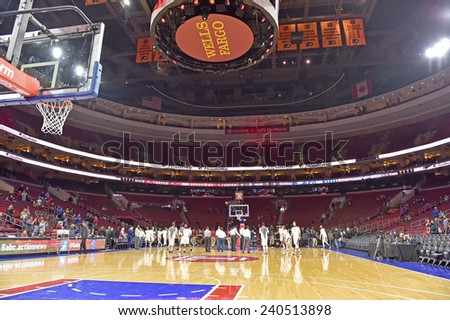 PHILADELPHIA - DECEMBER 22: The Wells Fargo center shown prior to the NCAA basketball game between Temple and Kansas on December 22, 2014 in Philadelphia.  - stock photo