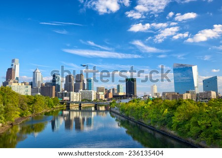 Philadelphia downtown skyline and Schuylkill River, PA, USA - stock photo