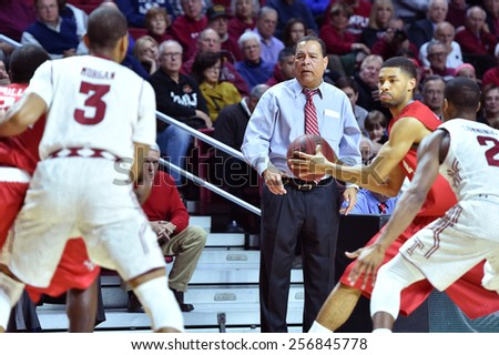 PHILADELPHIA - FEBRUARY 26: Houston Cougars head coach Kelvin Sampson shown during the AAC conference college basketball game  February 26, 2015 in Philadelphia.  - stock photo