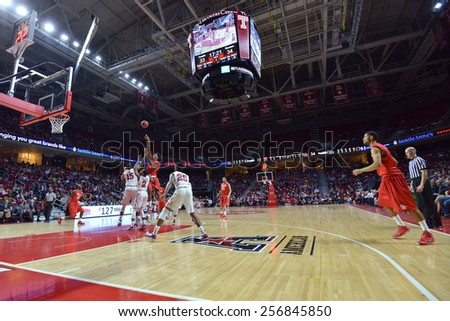 PHILADELPHIA - FEBRUARY 26: The Liacouras Center hosts the Temple Owls and Houston Cougars during the AAC conference college basketball game  February 26, 2015 in Philadelphia.  - stock photo