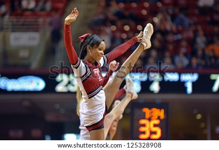 PHILADELPHIA - JANUARY 19: A Temple cheerleader performs during the Atlantic 10 basketball conference game against St. Bonaventure January 19, 2013 in Philadelphia.