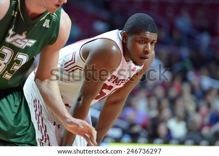 PHILADELPHIA - JANUARY 22: Temple Owls forward Chima Nwakpuda (50) waists for a free throw during the AAC conference college basketball game January 22, 2015 in Philadelphia.