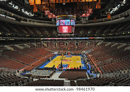 PHILADELPHIA - JANUARY 4: The Wells Fargo Center is shown prior to the start of the NCAA basketball game between Duke and Temple January 4, 2012 in Philadelphia. - stock photo