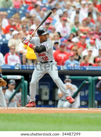 PHILADELPHIA - JULY 26: St. Louis Cardinals shortstop Julio Lugo in the batters box during the July 26, 2009 in Philadelphia. - stock photo