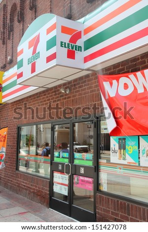 PHILADELPHIA - JUNE 11: 7 Eleven store on June 11, 2013 in Philadelphia. 7-Eleven is world's largest operator, franchisor and licensor of convenience stores, with more than 46,000 shops. - stock photo