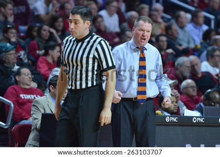 PHILADELPHIA - MARCH 18: Bucknell Bison head coach Dave Paulsen argues a call from the sideline in the NIT first round basketball game March 18, 2015 in Philadelphia.