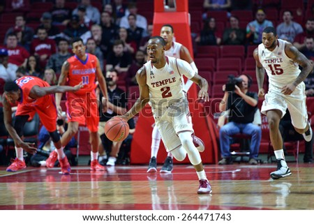 PHILADELPHIA - MARCH 25: Temple Owls guard Will Cummings (2) pushes the ball up court on a fast break during the NIT quarterfinal basketball game March 25, 2015 in Philadelphia.