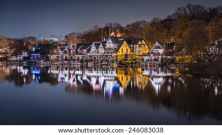 PHILADELPHIA - NOVEMBER 23, 2014 : Boathouse Row, a historic site located on the East bank of the Schuylkill River - Waterworks,Philadelphia,PA,USA. - stock photo