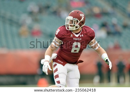 PHILADELPHIA - NOVEMBER 29: Temple Owls linebacker Tyler Matakevich (8) drops into pass coverage during  the football game November 29, 2014 in Philadelphia.