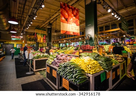 PHILADELPHIA - OCT 20:Reading Terminal Market in Philadelphia, USA, on October 20, 2015. It is an enclosed public market found at 12th and Arch Streets in downtown Philadelphia.