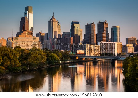 PHILADELPHIA - OCTOBER 2: City skyline reflected in Schuylkill River late afternoon on October 2, 2013 in Philadelphia. - stock photo