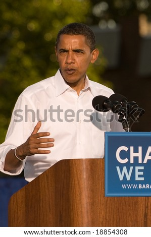 PHILADELPHIA - OCTOBER 11: Democratic Presidential nominee Senator Barack Obama speaks at a rally in Progress Plaza on October 11, 2008 in Philadelphia, Pennsylvania - stock photo