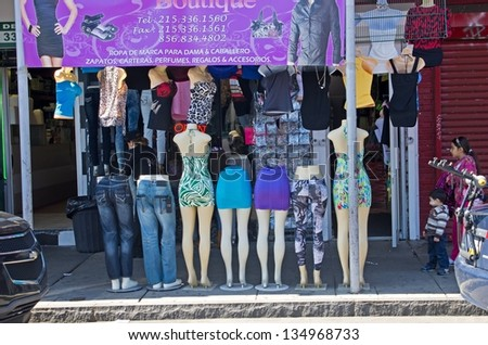 PHILADELPHIA, PA-APRIL 5:   Mannequins greet the busy shoppers at Philadelphia Italian Market on April 5, 2013. It is the oldest and largest working outdoor market in the United States.
