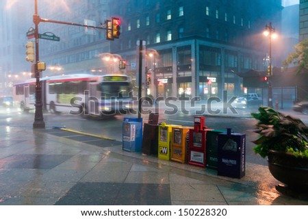 Philadelphia pa circa 2005 newspaper stands during rain storm in