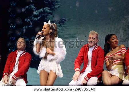 PHILADELPHIA, PA - December 10, 2014: Ariana Grande performs at the Wells Fargo Center on December 10, 2014 in Philadelphia.  - stock photo