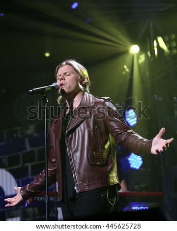 PHILADELPHIA, PA - December 9, 2015: Conrad Sewell performs at the Jingle Ball concert at the Wells Fargo Center on December 9, 2015 in Philadelphia.