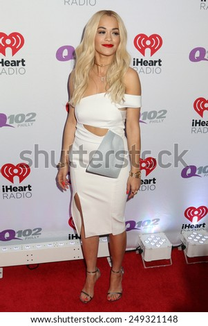 PHILADELPHIA, PA - December 10, 2014: Rita Ora attends the Q102's Jingle Ball at the Wells Fargo Center on December 10, 2014 in Philadelphia.  - stock photo