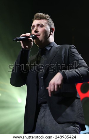 PHILADELPHIA, PA - December 10, 2014: Sam Smith performs at the Wells Fargo Center on December 10, 2014 in Philadelphia.  - stock photo