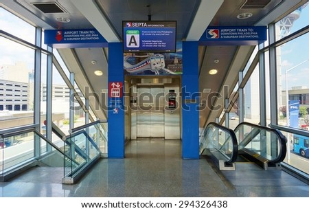 PHILADELPHIA, PA- 22 JUNE 2015- The SEPTA regional train commuter service connects the Center City of Philadelphia to the Philadelphia International Airport (PHL). - stock photo