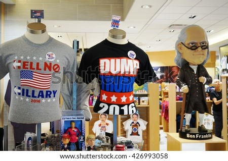 PHILADELPHIA, PA -25 MAY 2016- The America store at the Philadelphia International Airport (PHL) sells souvenirs, clothing and objects related to American politics and the US presidential election. - stock photo