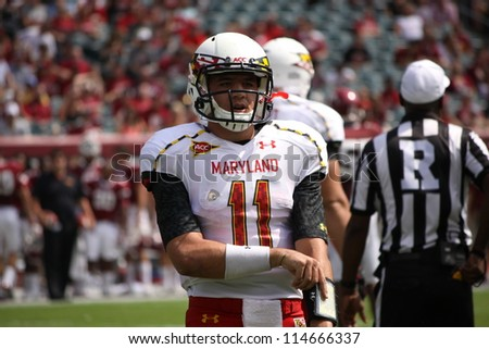 PHILADELPHIA, PA. - SEPTEMBER 8: Maryland Quarterback # 11 Perry Hills looks to the sidelines against Temple on September 8, 2012 at Lincoln Financial Field in Philadelphia, PA.