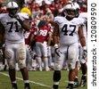 PHILADELPHIA, PA. - SEPTEMBER 17: Penn State Defensive Linemen Jordan Hill and Devon Still look to the sideline during a game on September 17, 2011 at Lincoln Financial Field in Philadelphia, PA - stock photo