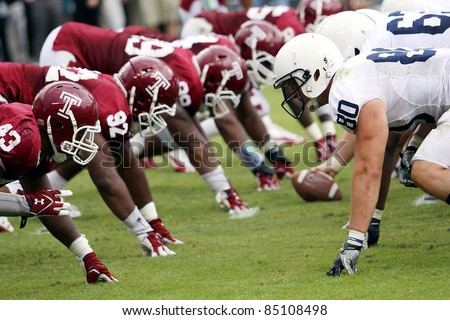 PHILADELPHIA, PA. - SEPTEMBER 17: Penn State's Offensive line faces off against Temple's Defensive Line on September 17, 2011 at Lincoln Financial Field in Philadelphia, PA.