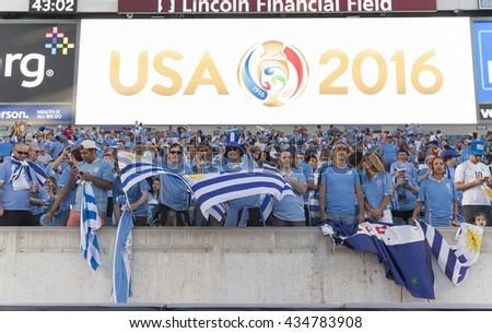 Philadelphia, PA USA - June 9, 2016: Fans of Uruguay attend Copa America Centenario game between Venezuela & Uruguay. Venezuela won 1 - 0 - stock photo