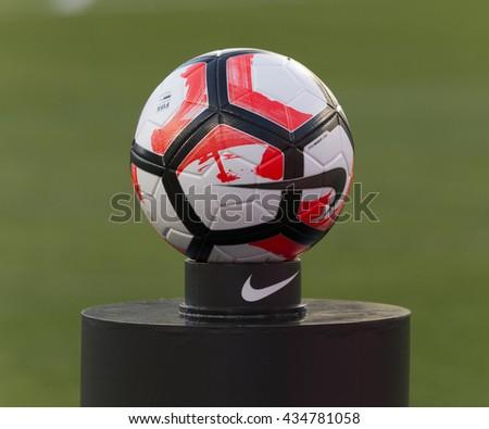Philadelphia, PA USA - June 9, 2016: FIFA official ball by Nike on display before Copa America Centenario game between Venezuela & Uruguay. Venezuela won 1 - 0 - stock photo