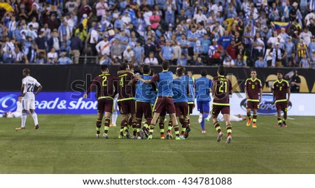 Philadelphia, PA USA - June 9, 2016: Venezuela team celebrate victory after Copa America Centenario game against Uruguay. Venezuela won 1 - 0 - stock photo