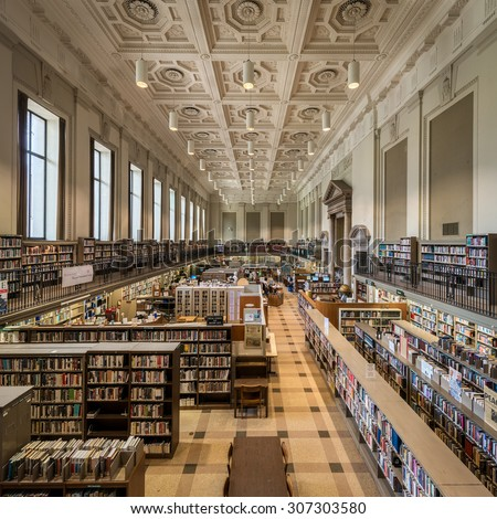 PHILADELPHIA, PENNSYLVANIA - JULY 21: Reading room of the Philadelphia Free Public Library on Vine Street on July 21, 2015 in Philadelphia, Pennsylvania  - stock photo
