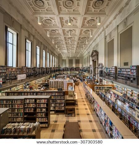 PHILADELPHIA, PENNSYLVANIA - JULY 21: Reading room of the Philadelphia Free Public Library on Vine Street on July 21, 2015 in Philadelphia, Pennsylvania  - stock photo