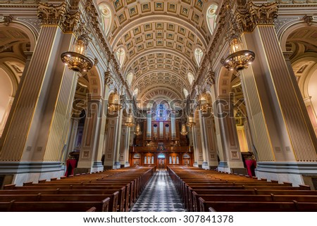 PHILADELPHIA, PENNSYLVANIA - JULY 21: The Cathedral Basilica of Saints Peter and Paul of the Roman Catholic Archdiocese of Philadelphia on Race Street on July 21, 2015 in Philadelphia, Pennsylvania - stock photo