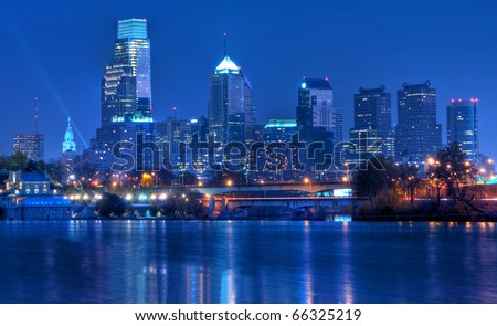 Philadelphia Pennsylvania Skyline at Night:  A view of Philadelphia, Pennsylvania�s cityscape overlooking the Schuylkill River at night.  An HDR image from 5 exposures.
