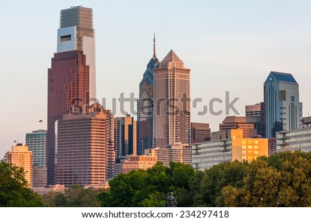 PHILADELPHIA, PENNSYLVANIA/UNITED STATES - MAY 21, 2013: View of downtown Philly at night from The Rocky Steps at the Philadelphia Museum of Art photographed on May 19, 2013 in Philadelphia. - stock photo