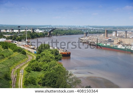 Philadelphia, Pennsylvania, United States - Schuylkill River with Platt Bridge and industrial refinery