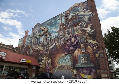 Philadelphia, Pennsylvania, USA-June 28, 2015: Philadelphia mural in the Avenue of the Arts. June 28, 2015 in Philadelphia - stock photo