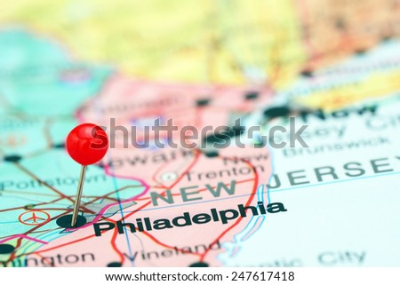 Philadelphia pinned on a map of USA  - stock photo
