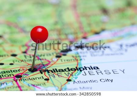 Philadelphia pinned on a map of USA  - stock photo
