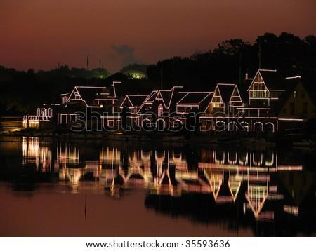 Philadelphia's Boathouse Row - stock photo
