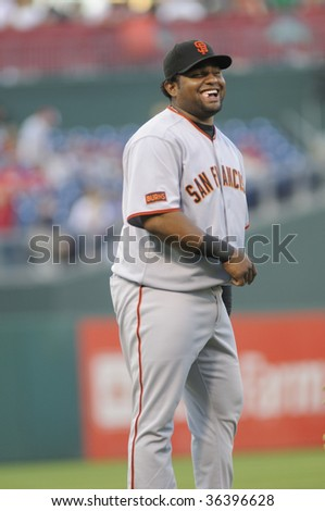 PHILADELPHIA - SEPTEMBER 2: San Francisco Giants third baseman Pablo Sandoval laughs during pregame warm ups September 2, 2009 in Philadelphia.