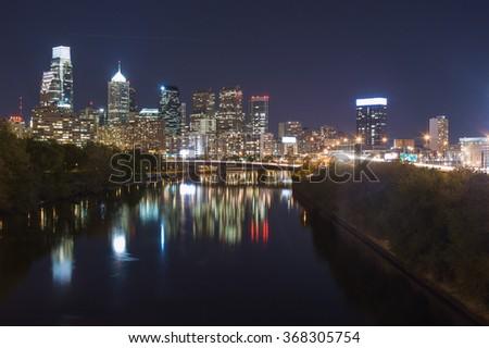 Philadelphia skyline at night - stock photo