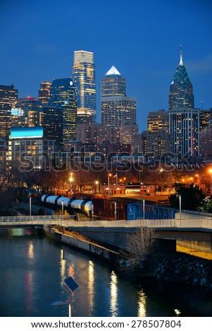 Philadelphia skyline at night with urban architecture. - stock photo