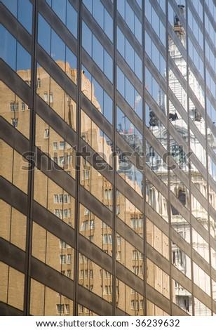 Philadelphia Skyline in a reflection - stock photo