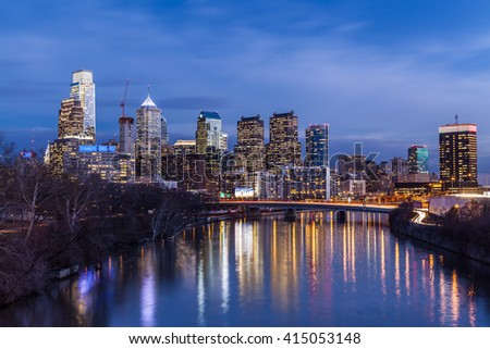 Philadelphia Skyline over Schuylkill River