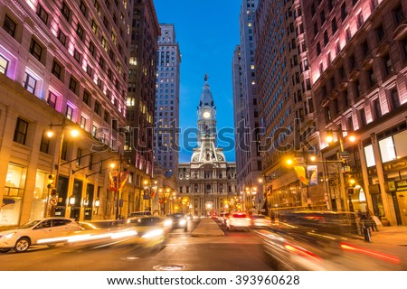 Philadelphia streets with traffic at night