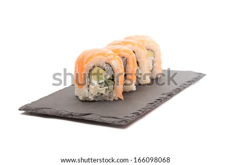 Philadelphia sushi roll isolated on white background - stock photo