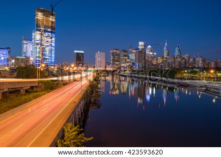 Philadelphia, United States - May 19, 2016: Night scene of Philadelphia from the South St. Bridge